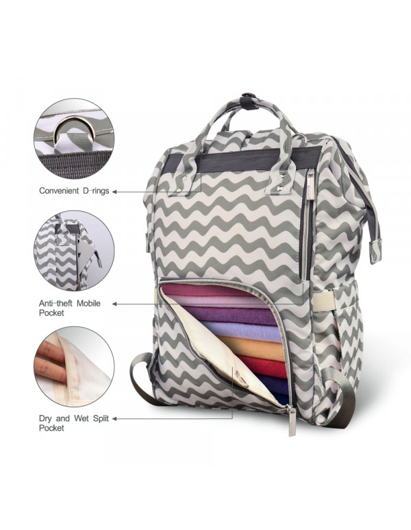 Pipi bear Diaper Bag Backpack Travel Large Spacious Tote Shoulder Bag Organizer(Chevron)