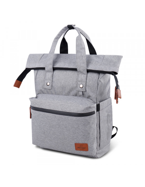 Pipi bear Diaper Bag Backpack Travel Large Spacious Tote Shoulder Bag Organizer (Linen gray)