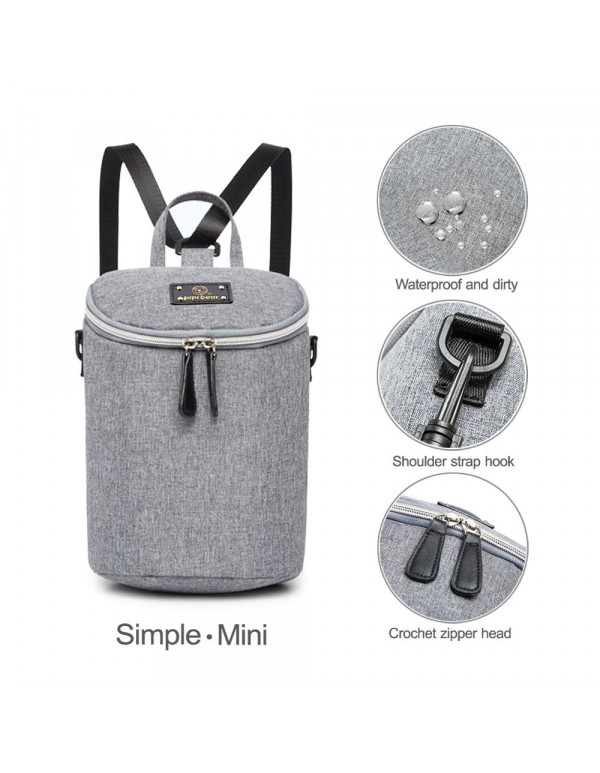 Pipi bear Insulated Bottle Tote Bag, Portable Breast Milk Baby Double Bottle Cooler Bag (Light Gray)